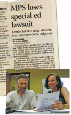 MPS article and a picture of Monica Murphy and Jeff Spitzner-Resnick viewing the verdict.