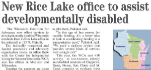 Rice Lake office article about the office opening.
