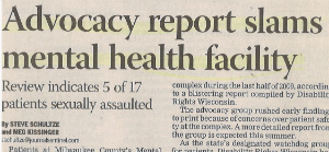 An article: advocacy report slams mental health facility