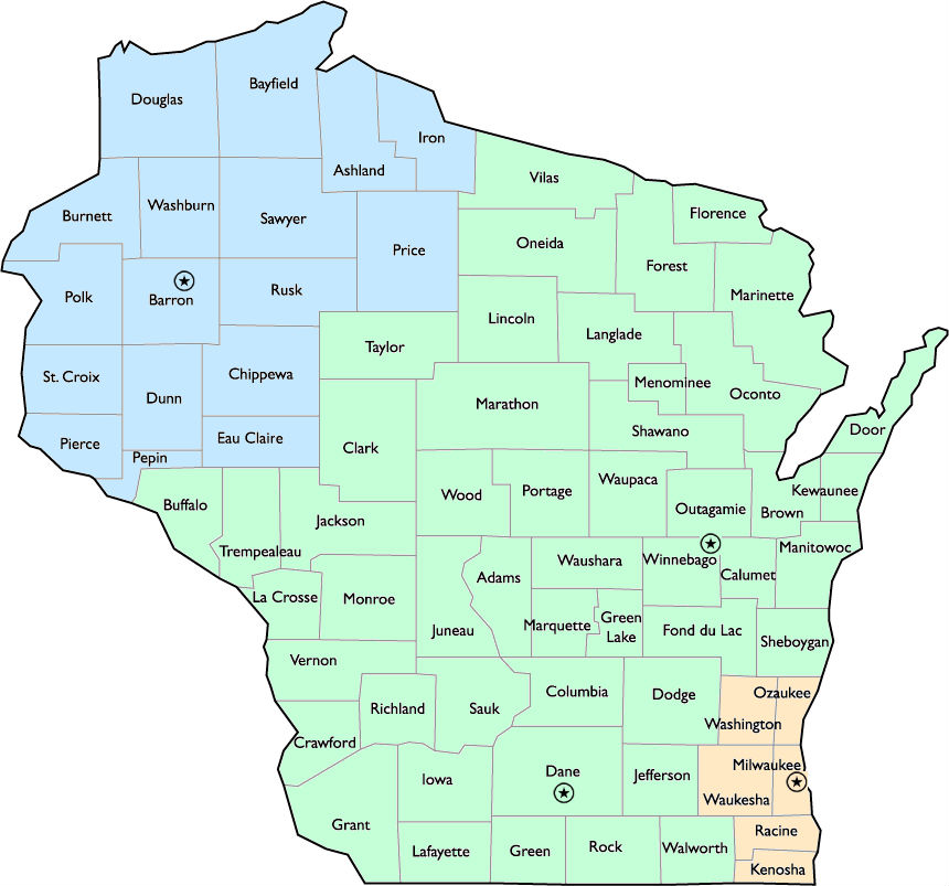 Map of the state of wisconsin with all counties marked out. Includes DRW office locations listed below map.