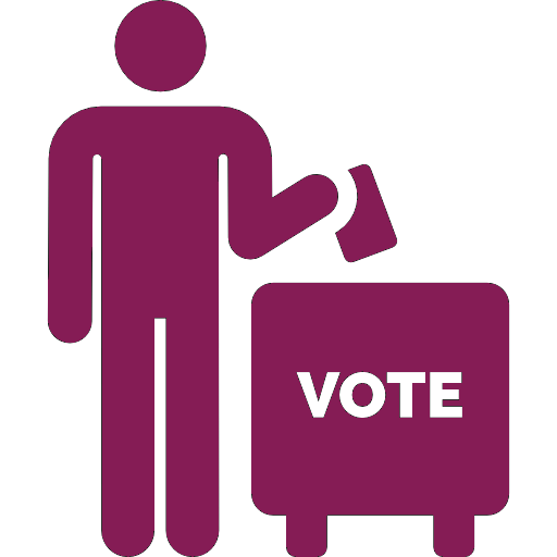 outline of person putting ballet in voting box.