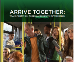 Arrive Together publication snapshot with people riding the bus.