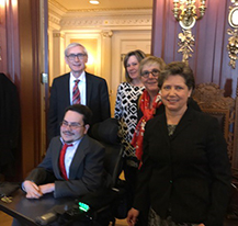 Tony Evers, Chris L'Heureux, Kit Kerschensteiner, Lea Kitz, and Bill Crowley at Governor's office.