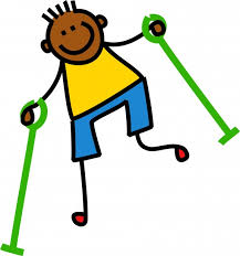 smiling child with hand crutches