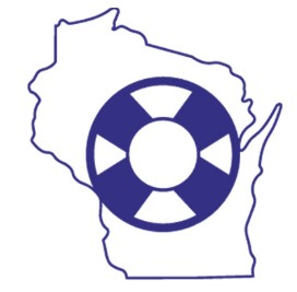 Speaker's Task Force logo - Outline of Wisconsin with a round life preserver in the center