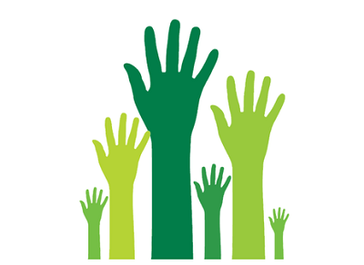 silhouette of several hands raised in the air