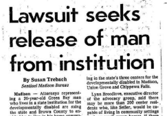 Newspaper article clipping with headline Lawsuit seeks release of man from institution