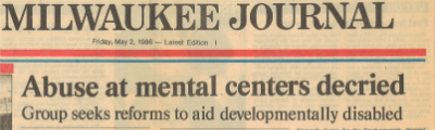 Milwaukee Journal newspaper clipping with heading abuse at mental centers decried