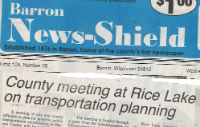 newspaper article about transportation in Rice Lake